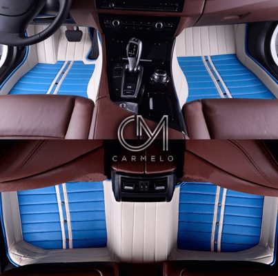 Blue and White Carmelo Tailored Car Mats